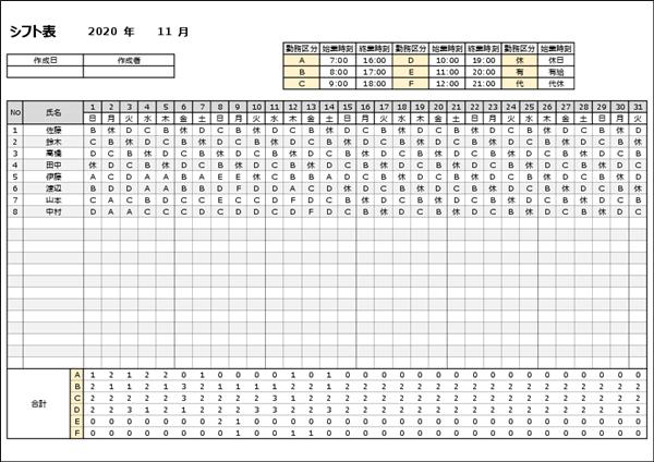 1月単位のシフト表 自動計算あり