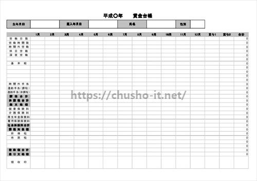 エクセル 自動計算ありの賃金台帳1